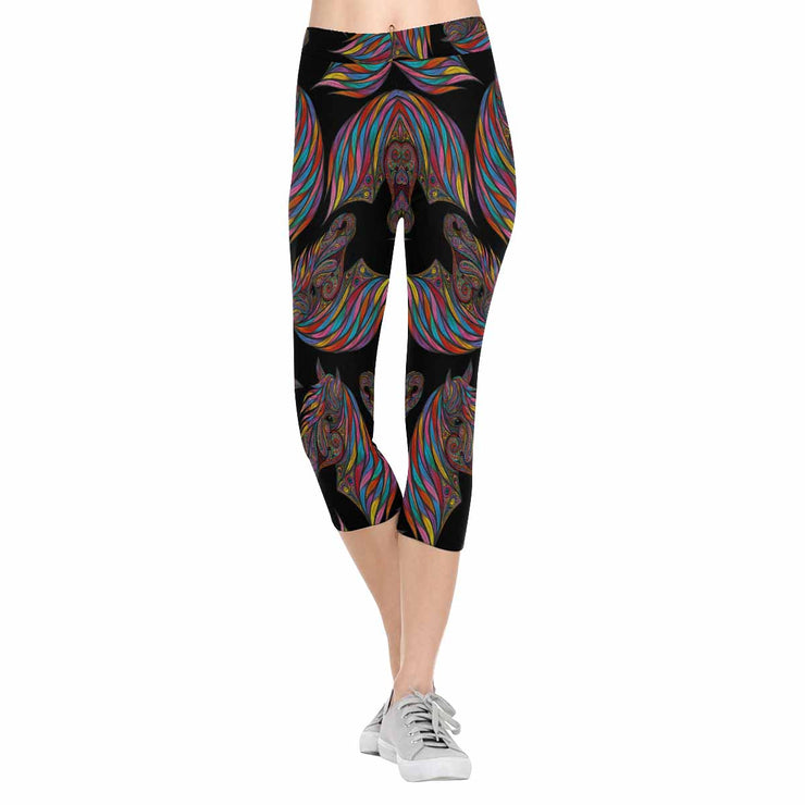 Colorful Swirled Horse 3/4 Capri Leggings