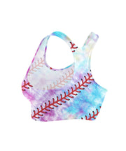 Tie Dye Baseball Stitches Sports Bra