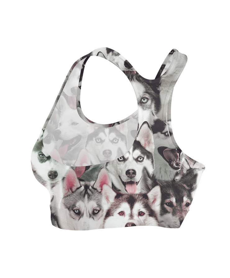 Huskies on Huskies on Siberian Huskies Sports Bra