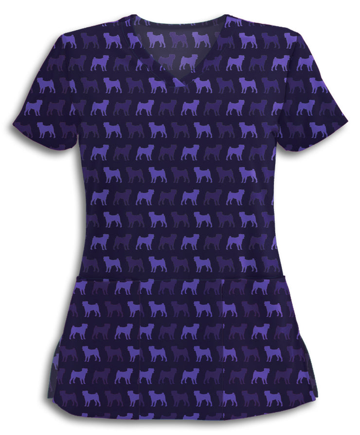 Purple Pugs Scrub Top