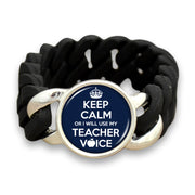 Keep Calm Or I Will Use My Teacher Voice Colored Silicone Stretch Bracelet
