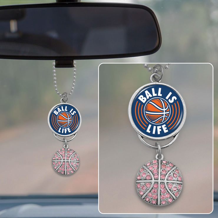 Ball Is Life Basketball Rearview Mirror Charm