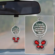 The Butterfly Counts Not Months But Moments Crystal Rearview Mirror Charm