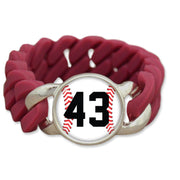 Personalized Baseball Number Colored Silicone Stretch Bracelet