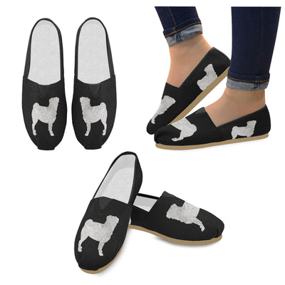 Pug Silhouette Canvas Shoes
