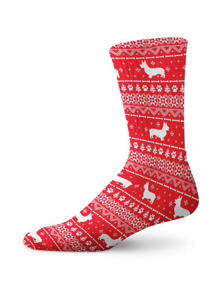 Nordic Red Corgi Crew Socks