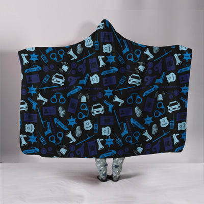 Police Icons Hooded Blanket