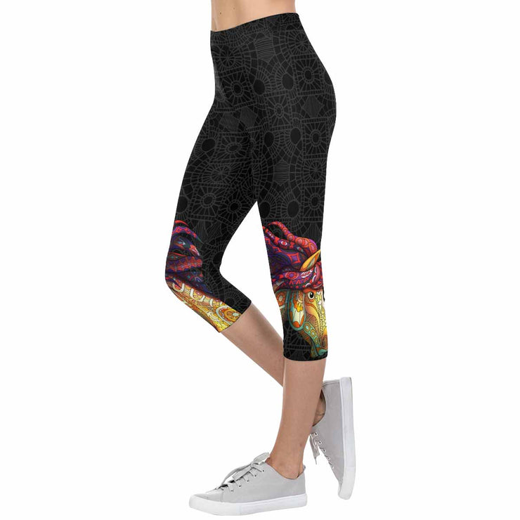 Horse Zentangle 3/4 Capri Leggings