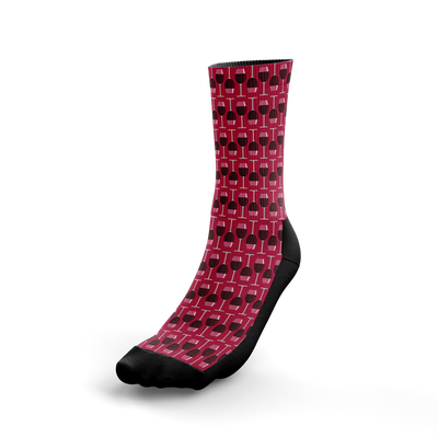 Red Wine Glass Crew Socks