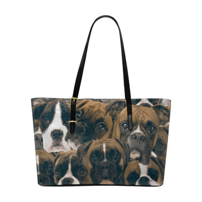 Boxers on Boxers on Boxers Leather Tote Bag