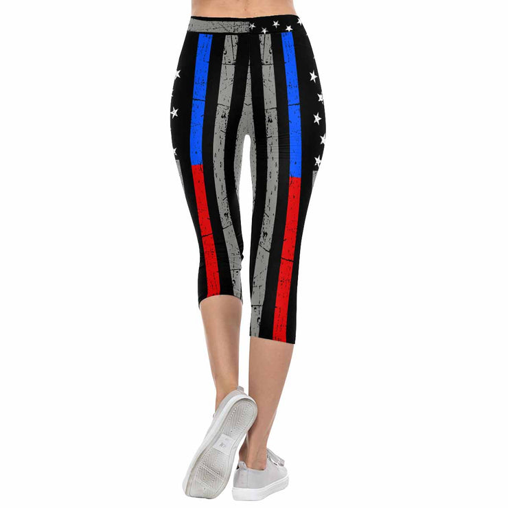 Thin Blue & Red Line 3/4 Capri Leggings