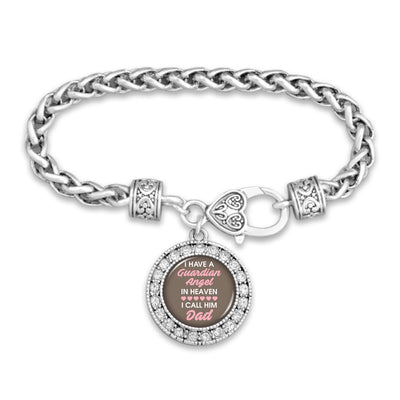 Guardian Angel In Heaven Dad Silver Braided Clasp Bracelet