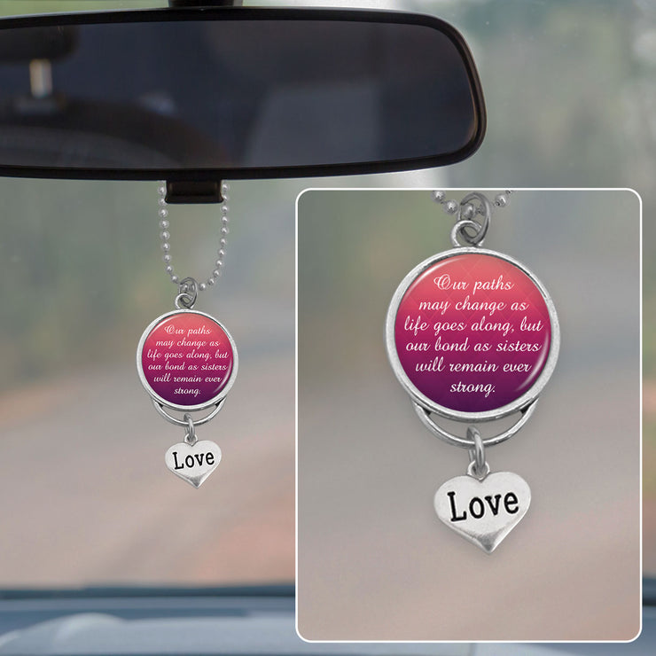 Bond As Sisters Rearview Mirror Charm
