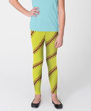 Softball Stitches Youth Leggings