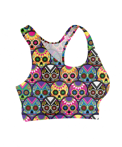 Candy Colored Sugar Skulls Sports Bra