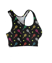 Colorful Tennis Rackets Sports Bra