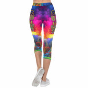 Psychedelic Cat 3/4 Capri Leggings