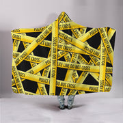 Police Tape Black Hooded Blanket
