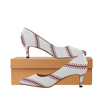 Baseball Stitches Women's Pointed Toe Low Heel Pumps