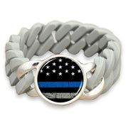 Thin Blue Line Flag Colored Silicone Stretch Bracelet