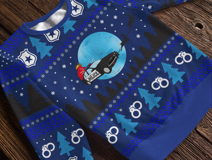 Police Car Sleigh Holiday Fleece Sweatshirt