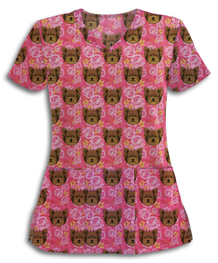 Pink Floral Yorkies Scrub Top
