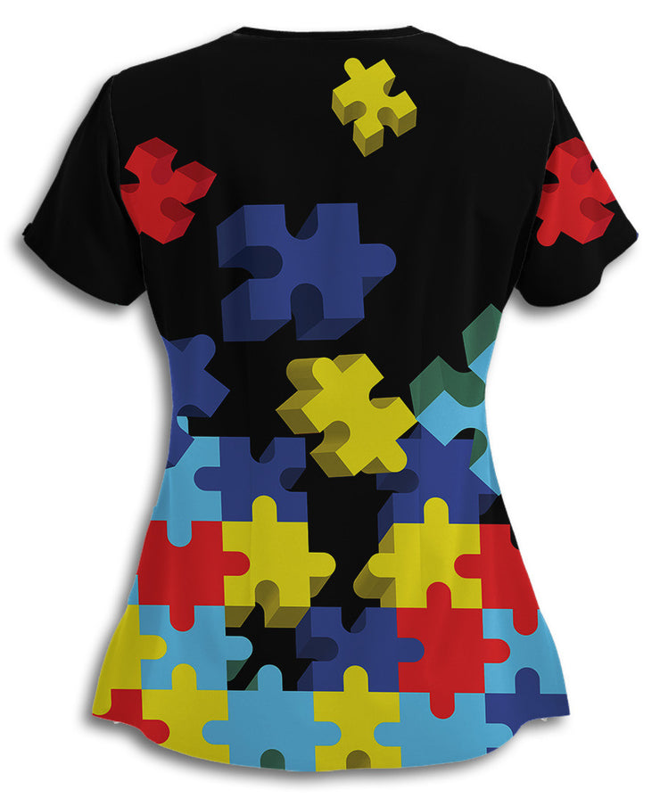 Autism Awareness Flying Puzzle Pieces Scrub Top