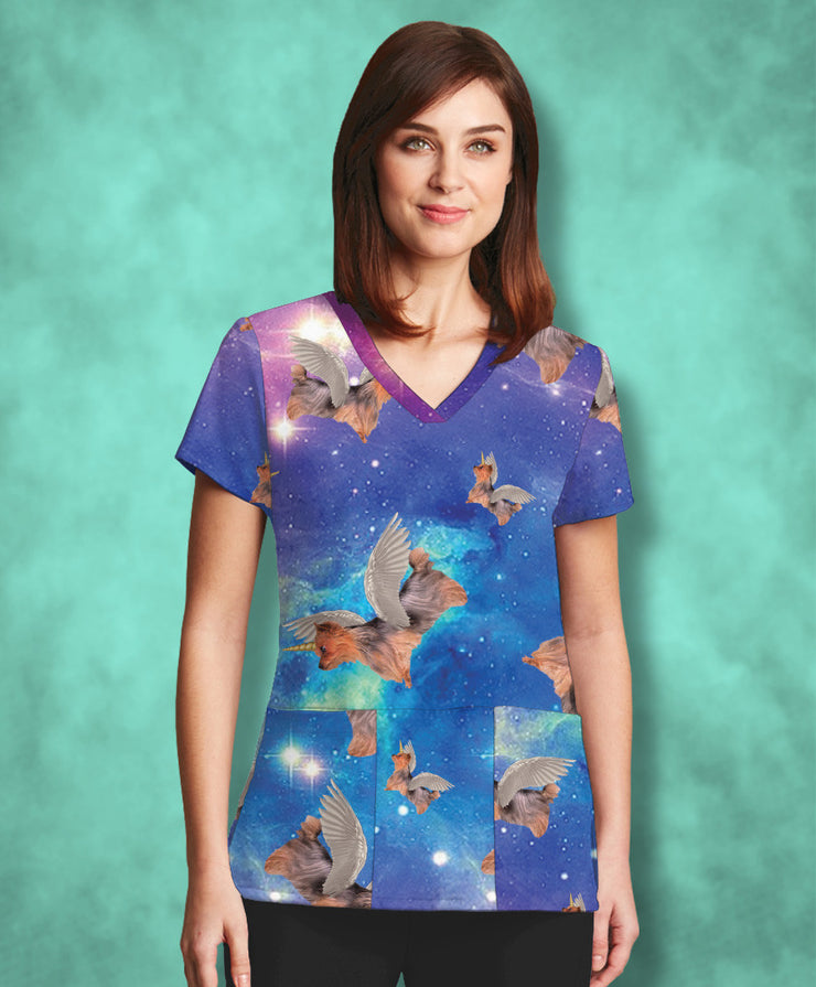 Galactic Yorkie Unicorn Scrub Top