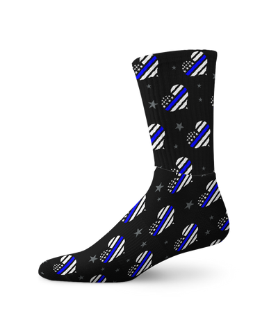 Thin Blue Hearts Crew Socks