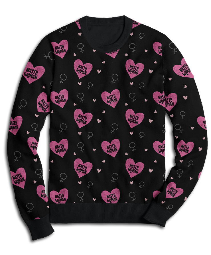 Nasty Woman Hearts Fleece Sweatshirt