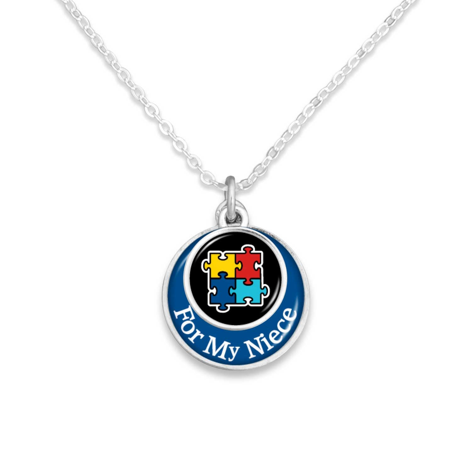 """For My Family"" Autism Advocacy Necklace (Son, Daughter, Niece, Nephew, Sister, Brother, Granddaughter, or Grandson)"