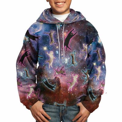 Galaxy Cats All Over Print Kids Hoodie
