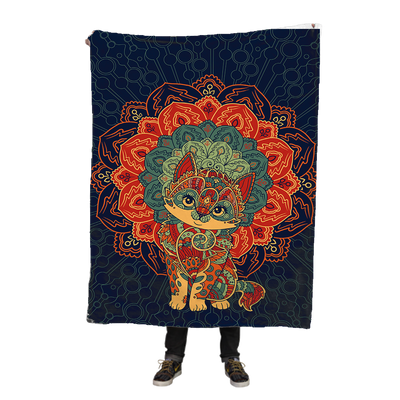Cat Mandala Fleece Blanket