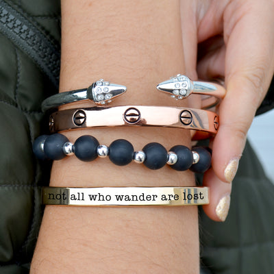 Not All Who Wander Are Lost Arm Party Bracelet Stack