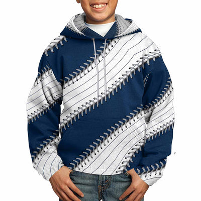 Pinstripe Baseball Stitches All Over Print Kids Hoodie