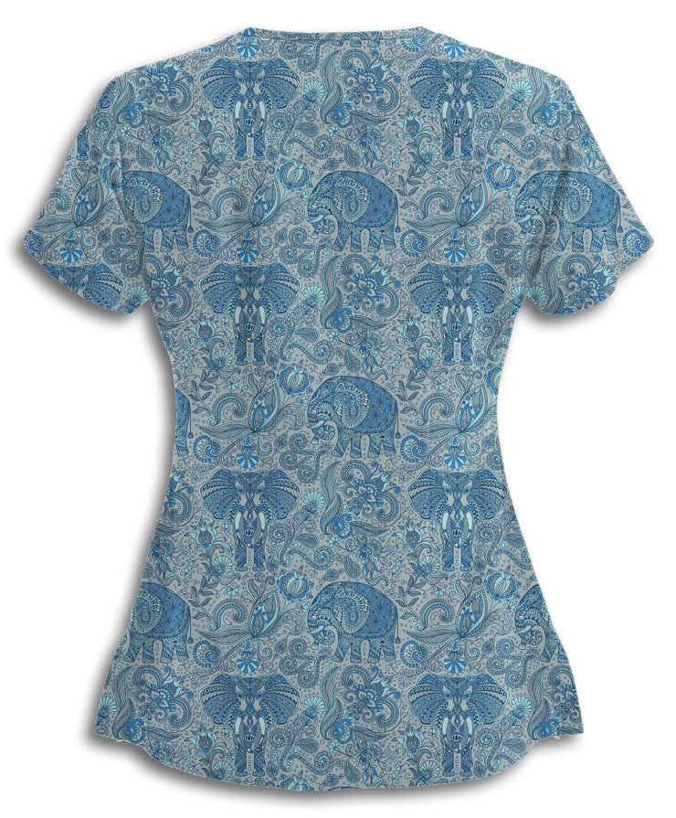 Cool Grey Paisley Elephants Scrub Top