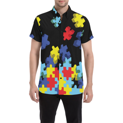 Flying Autism Puzzle Pieces Men's Short Sleeve Shirt