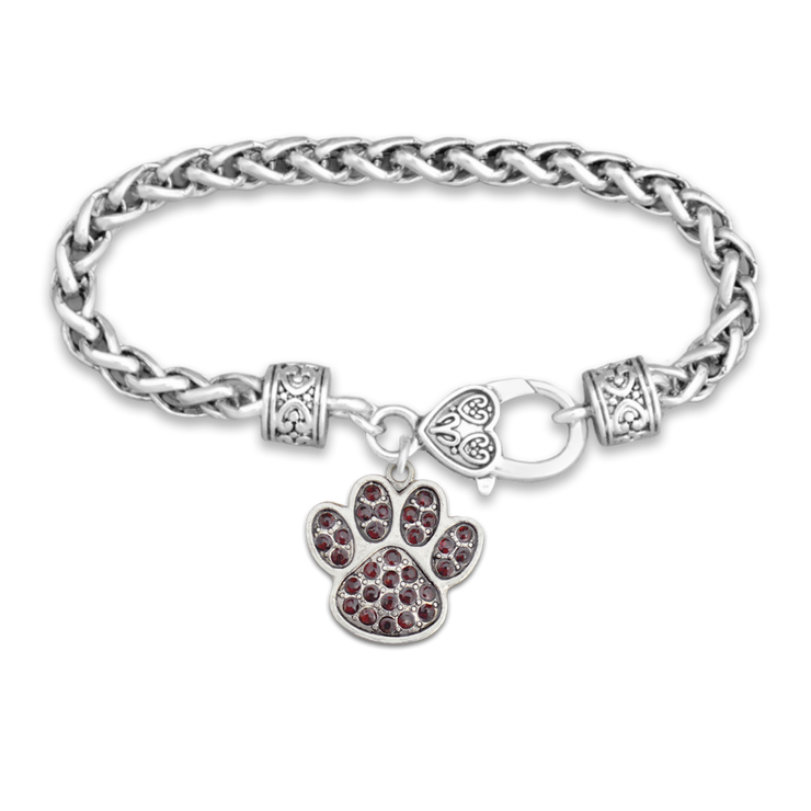 Colored Crystal Paw Print Silver Braided Clasp Charm Bracelet