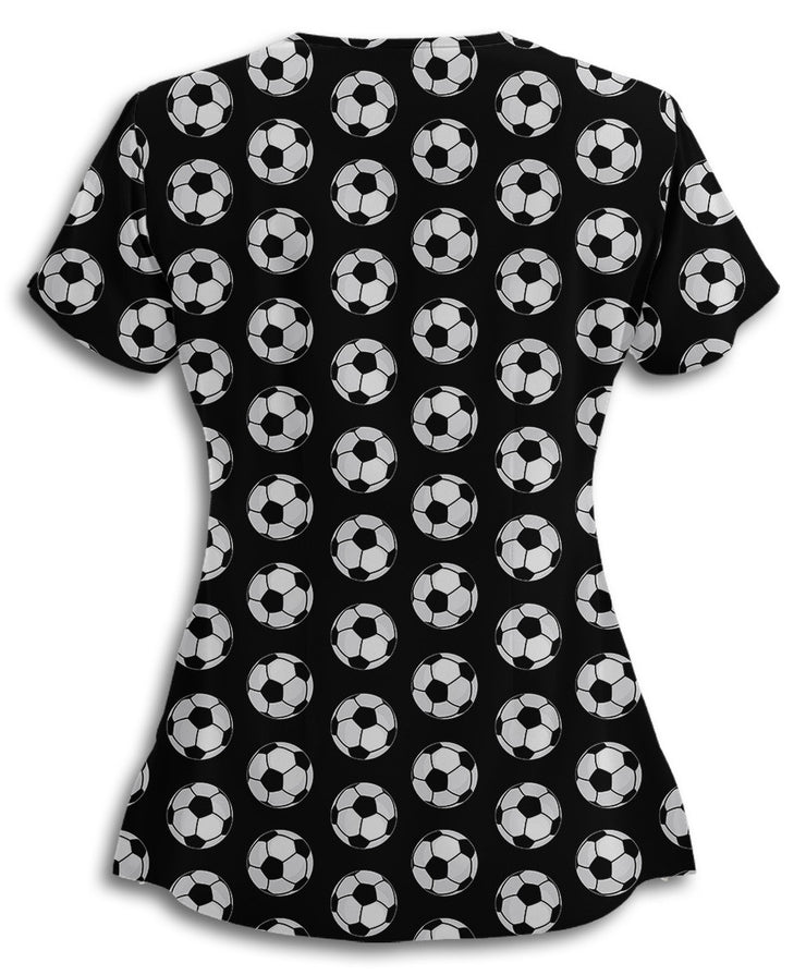 Soccer Balls All Over This Scrub Top