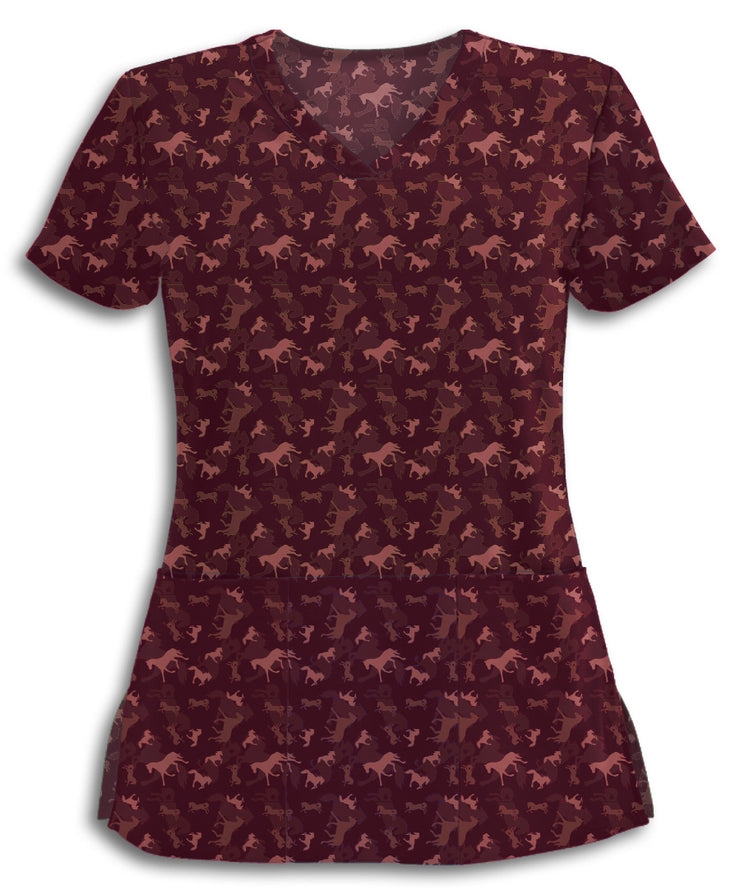Maroon Horses Move Me Scrub Top