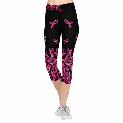 Breast Cancer Awareness Flying Ribbon 3/4 Capri Leggings