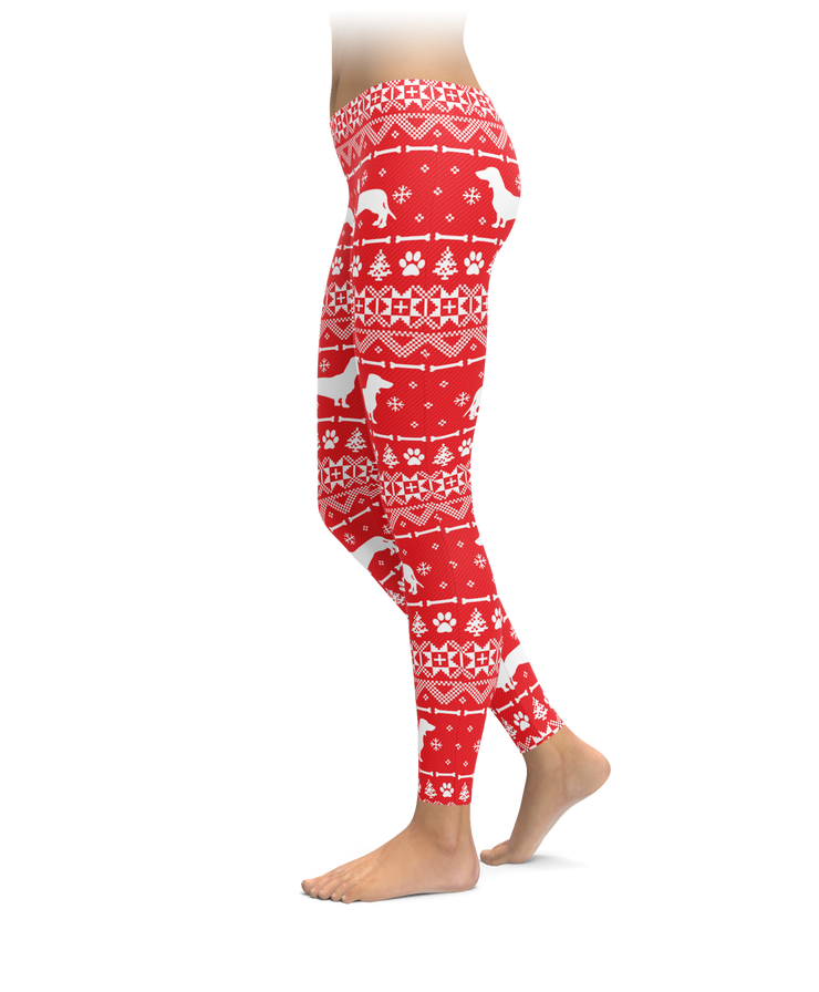 Red Dachshund Holiday Leggings