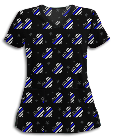Thin Blue Line Hearts Athletic Scrub Top