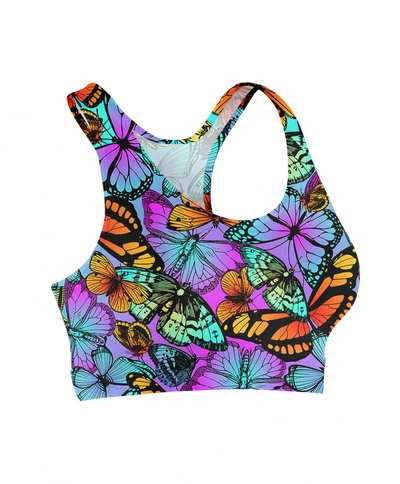 Neon Butterflies Sports Bra