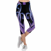 Blue Tentacles Going Up 3/4 Capri Leggings