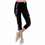 Rainbow Flame Horses 3/4 Capri Leggings