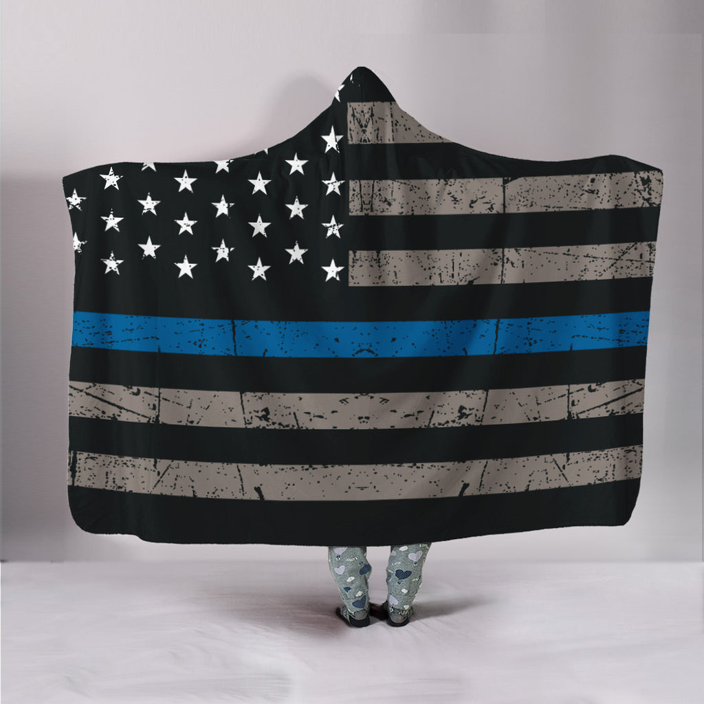 Thin Blue Line Police Hooded Blanket