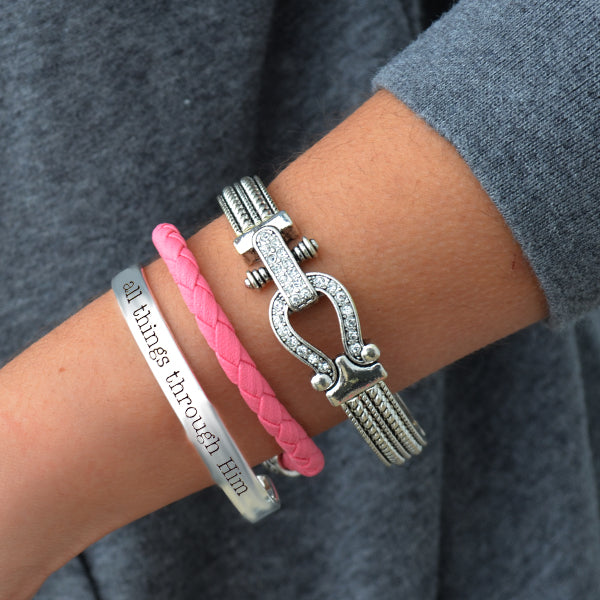All Things Through Him Arm Party Bracelet Stack
