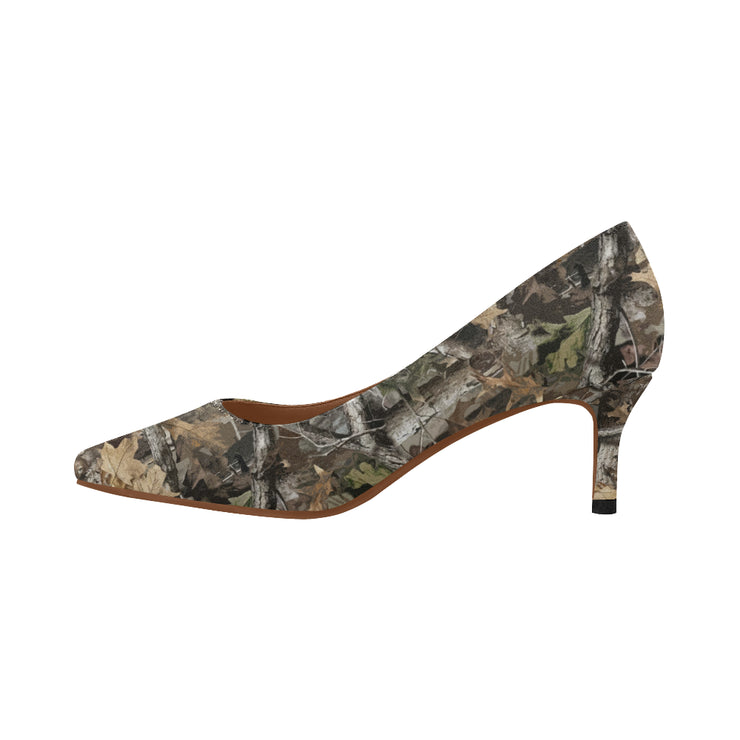 Forest Camo Women's Pointed Toe Low Heel Pumps