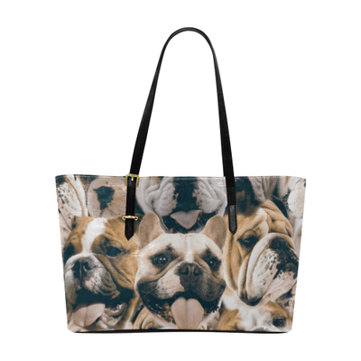 Bulldogs on Bulldogs on Bulldogs Leather Tote Bag